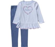 Schlafanzug für Mädchen Herz blau / hellblau / naturweiß