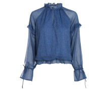 Langärmelige Rüschen-Bluse blau