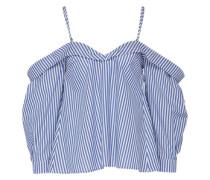 Off-Shoulder Bluse 'Paloma' blau / weiß
