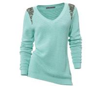 V-Pullover grün