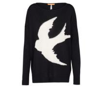 Oversize Pullover 'Ibirdy' schwarz / weiß