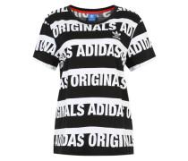 T-Shirt mit Print 'Boyfriend Trefoil' schwarz / weiß