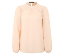 Tunika-Bluse mit Rüschen an den Schultern creme