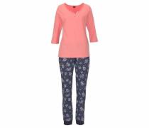 Pyjama marine / hellblau / lachs / weiß