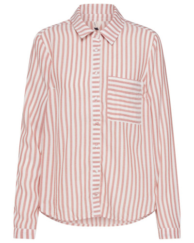 Bluse rostbraun / weiß