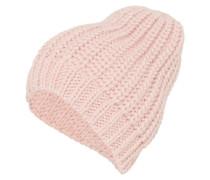 Oversize-Mütze im Patentstrickmuster pink