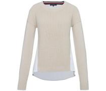 Pullover 'abella Fabric MIX C-Nk Swtr' hellbeige / weiß