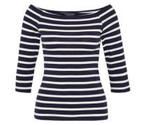 Gestreiftes Shirt im Carmen-Stil navy / weiß