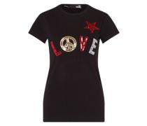 T-Shirt mit Pailletten-Applikationen mischfarben / schwarz
