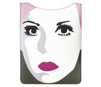 Schutzcase für das 3/4 iPad 'Let's face it' grün / rosa / weiß