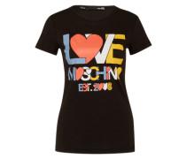 T-Shirt mit Label-Print mischfarben / schwarz