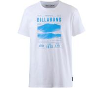 T-Shirt 'lines TEE SS' blau / weiß