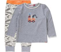 Baby Schlafanzug 'Duplo' für Jungen graumeliert / orange / wollweiß