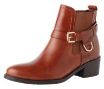 Chelsea Boots mit Zier-Riegel 'Saddle' cognac