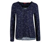 Viskose-Bluse mit Musterprint dunkelblau