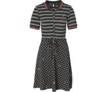 Kleid anthrazit / rot / offwhite