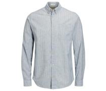 Button-Down-Langarmhemd rauchblau / weiß