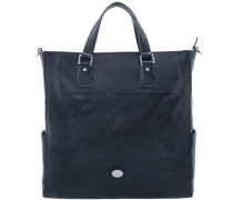 Artisan Uomo Shopper Tasche Leder 37 cm Laptopfach blau