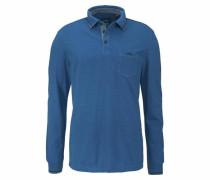 Langarm-Poloshirt dunkelblau / blaumeliert