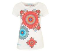 T-Shirt 'Mary' mit Blumen-Verzierung mischfarben / weiß