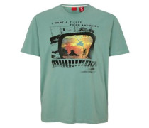 T-Shirt mit abstraktem Print grün