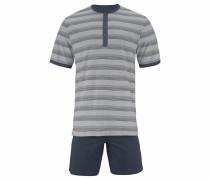 Pyjama kurz mit Knopfleiste dunkelblau / grau
