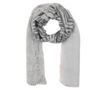 Schal mit Pailletten-Print Spitze und Zebra-Look grau