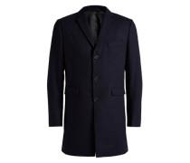 Mit schmalem Revers versehener Wollmix-Mantel blau