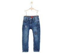 'Pelle' Destroyed Denim 'slim' blue denim
