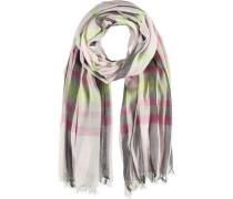 Baumwoll-Schal grau / limette / pink
