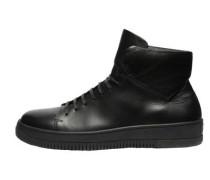 High Top Sport Kalb-Sneaker schwarz