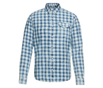 Hemd im Karo-Look 'Welton' blau / weiß