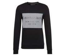 Sweatshirt mit Flockdruck grau / schwarz