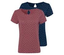 T-Shirt navy / beere / weiß