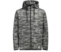 Camouflage-Kapuzen-Sweatjacke grau