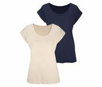 T-Shirt beige / marine