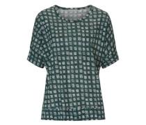 Shirt mit Allover Muster grau / tanne / weiß
