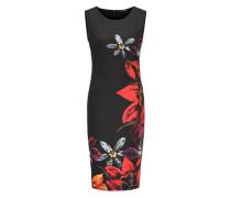 Jerseykleid mit Blumendruck und farbigen Strasssteinen
