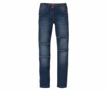 Jeans mit ausgefransten Ziernähten am Knie blau