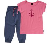 Schlafanzug für Mädchen blau / pink