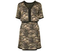 Kleid mit Animal-Muster beige / schwarz