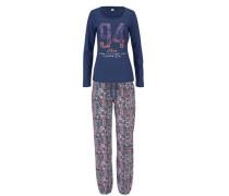 Pyjama mit mehrfarbigem Paisleymuster blau