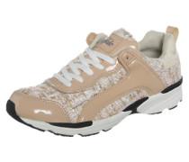 Sneaker mit Lack-Details beige