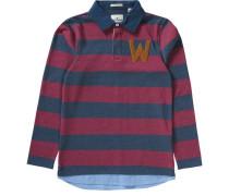 Polo-Langarmshirt für Jungen blau / weinrot