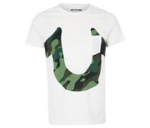 T-Shirt 'camo Horseshoe' weiß