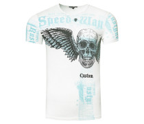 T-Shirt mit 'Flying Skull' Front Print