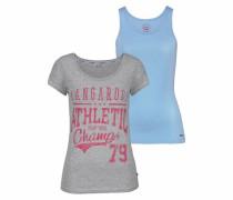 Print-Shirt (Set 2 tlg. mit Top) hellblau / grau