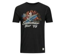 Artwork-T-Shirt hellblau / dunkelorange / schwarz