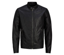 Lederoptik-Jacke schwarz