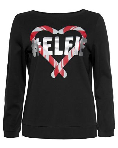 Sweatshirt feuerrot / schwarz / silber